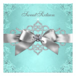White Diamonds Teal Blue Birthday Party Card