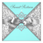 White Diamonds Teal Blue Birthday Party Invitation