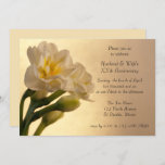White Double Daffodil Anniversary Party Invitation
