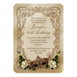 White Roses and Masquerade Mask Birthday Card