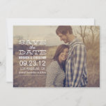 White Text Save the date Photo Announcements
