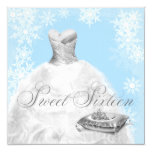 Winter Blue Snowflake Sweet Sixteen Party Invitation