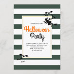 Witch and bats stripes gray Halloween party Invitation