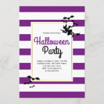 Witch and bats stripes purple Halloween party Invitation