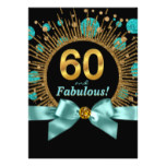 Womans 60th Birthday Teal Blue and Gold Card