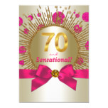 Womans 70th Birthday Party Fuchsia Gold Invitation