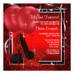 Womans Black and Red High Heels Birthday Party Card