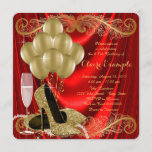 Womans Red and Gold Birthday Party Glam Invitation