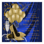 Womans Royal Blue and Gold Birthday Party Luxe Card