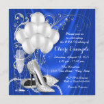 Womans Royal Blue and Silver Birthday Party Invitation