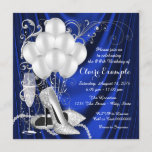 Womans Royal Blue and Silver Birthday Party Luxe Invitation