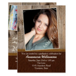 Wood and Leather Look Four Photo Graduation Party Card