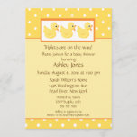 Yellow Ducks Triplets Baby Shower Invitation